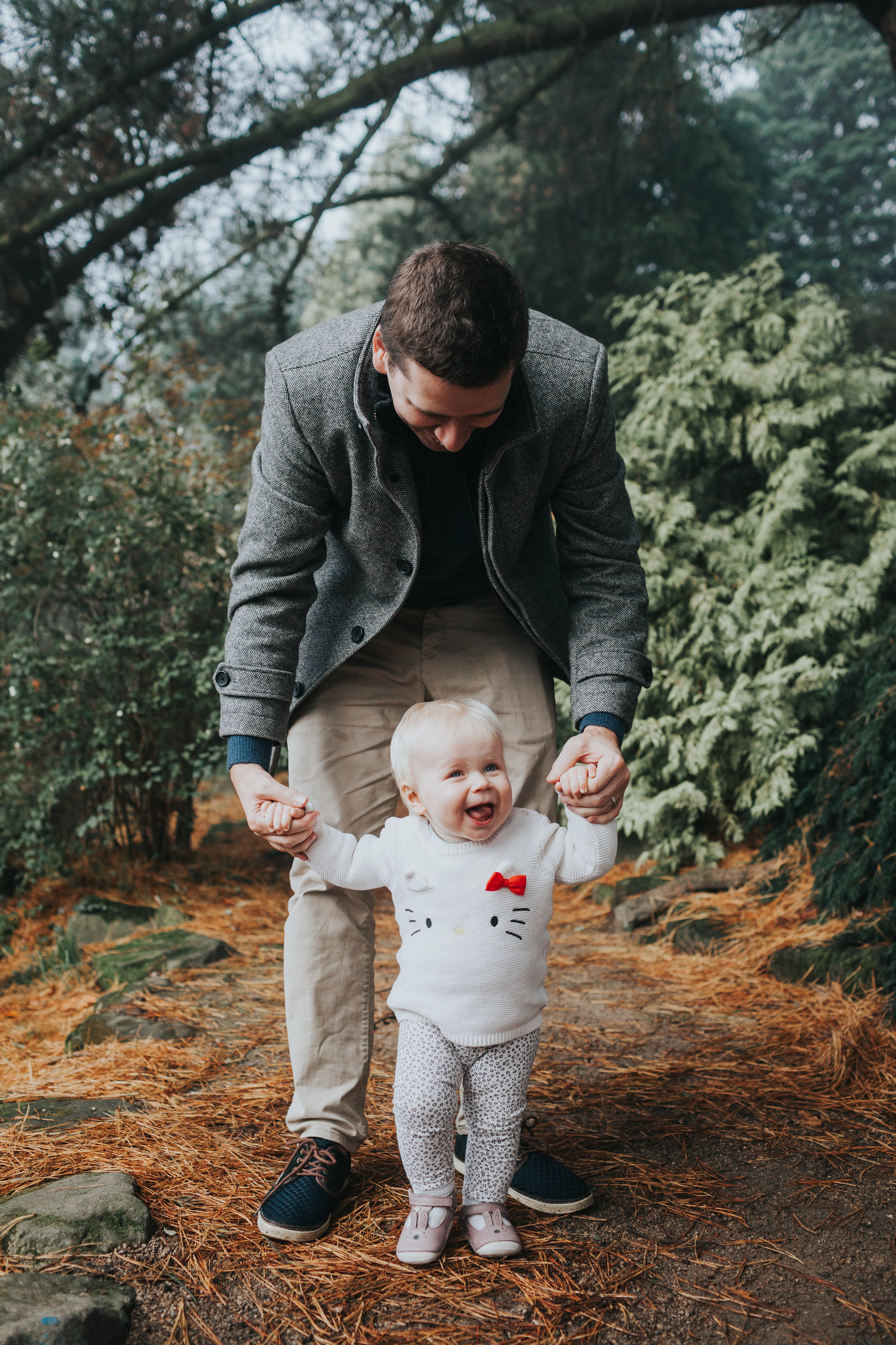 Dad takes Evie for a walk.
