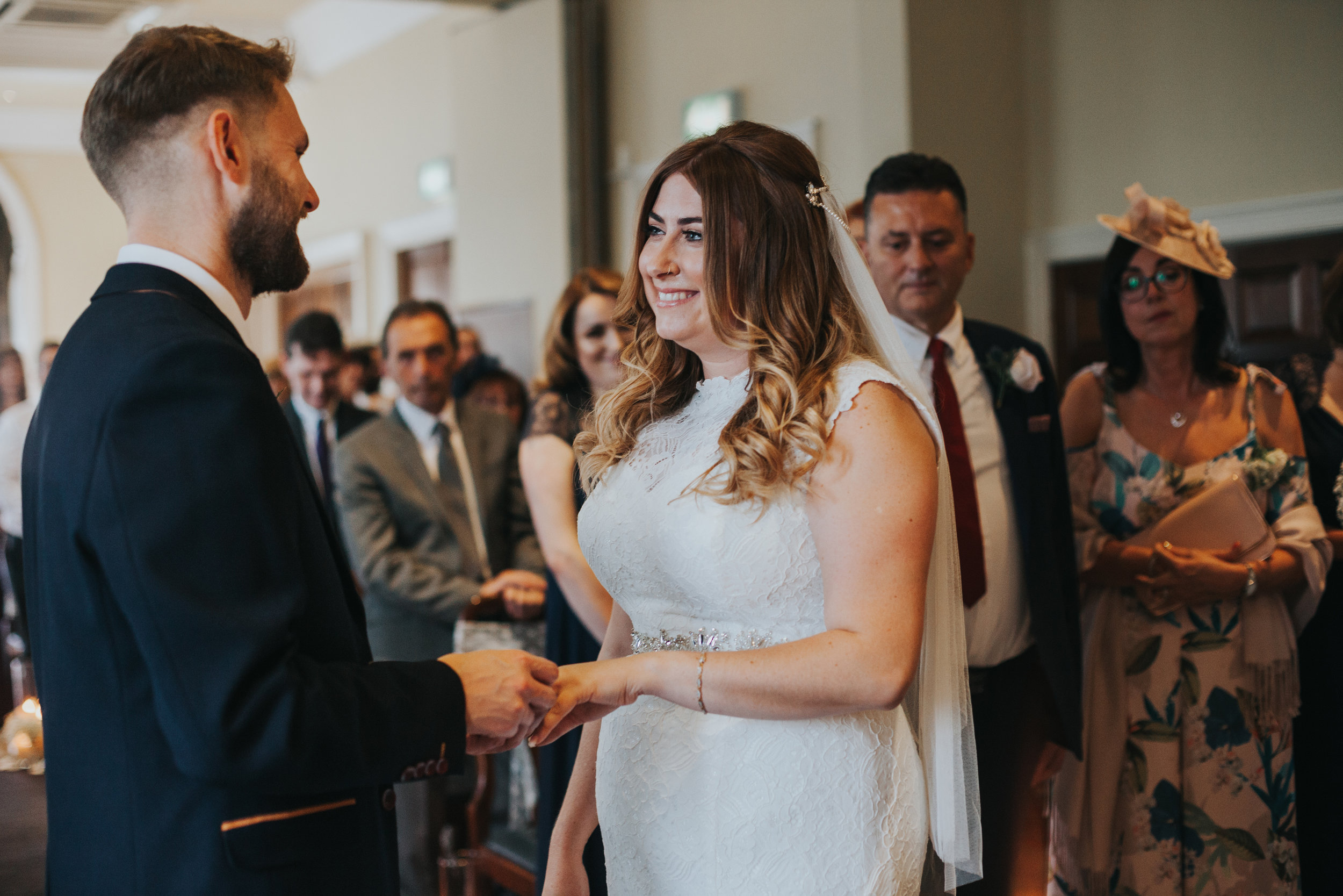 Bride and groom say their wedding vows.