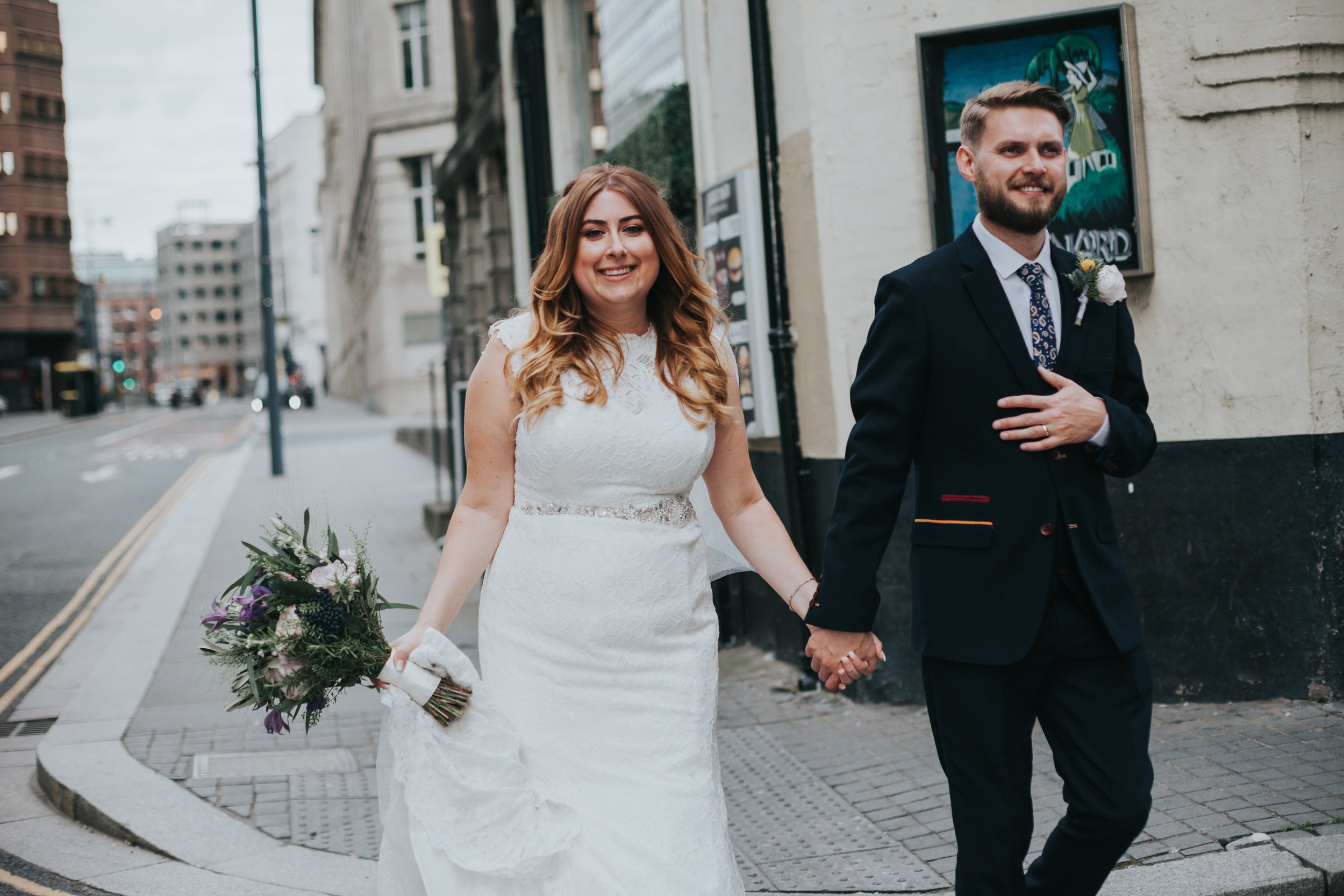 Bride and groom together in Liverpool Street.