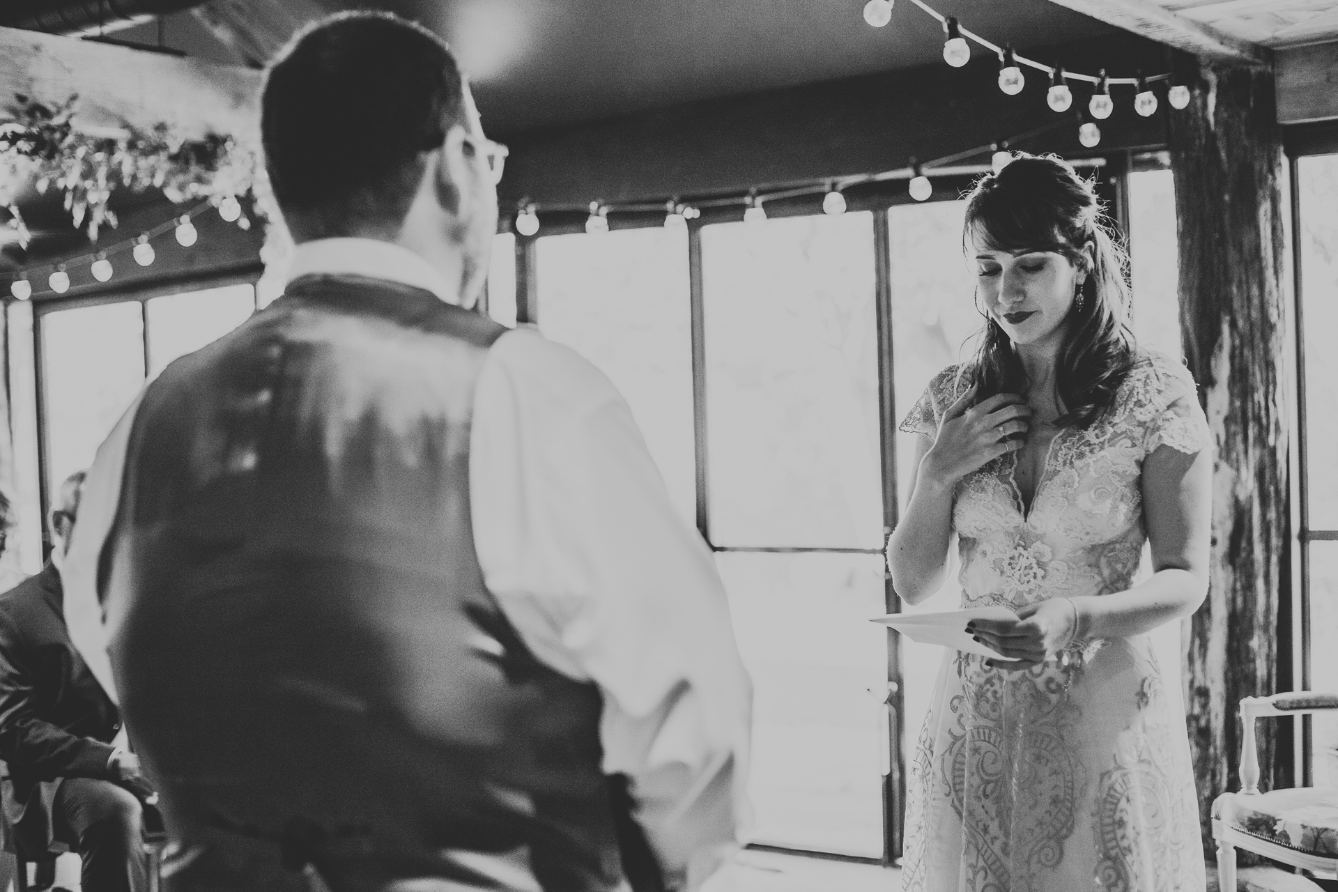 Bride says her vows.