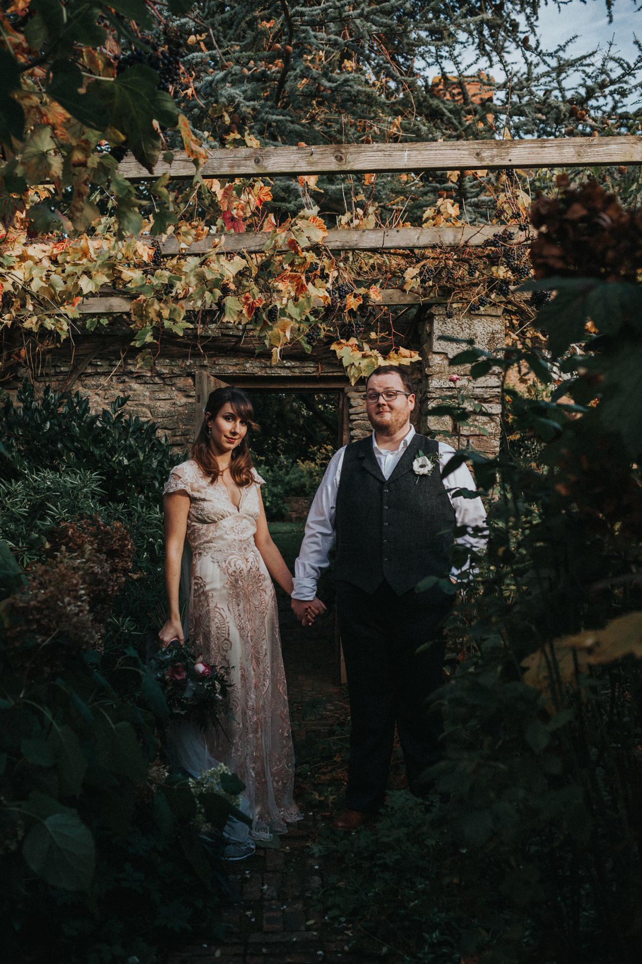 Photograph of Bride and Groom in the grounds of Dewsall Court.
