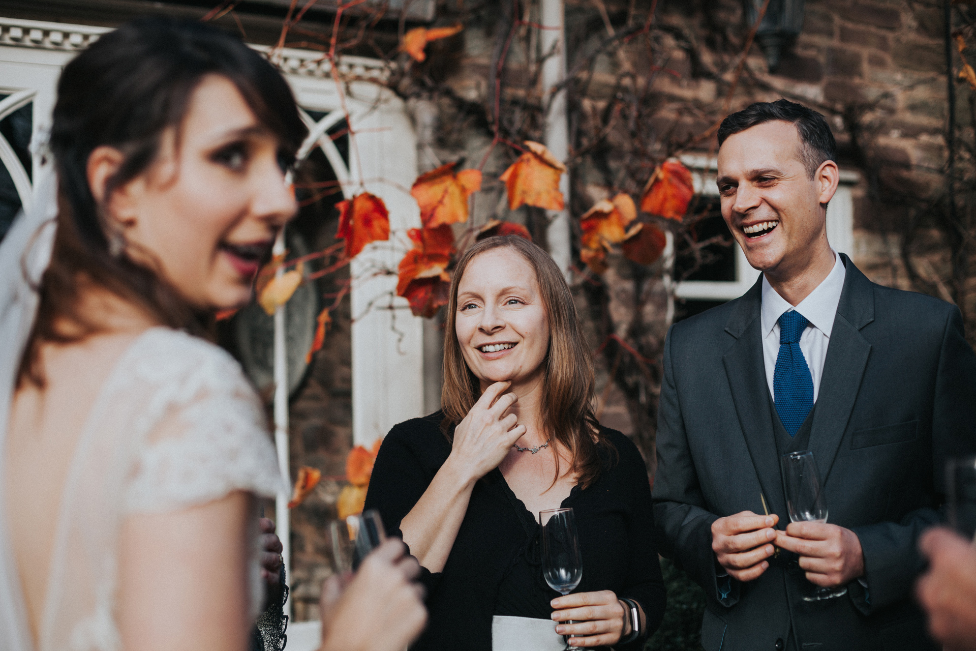 Bride and wedding guests.