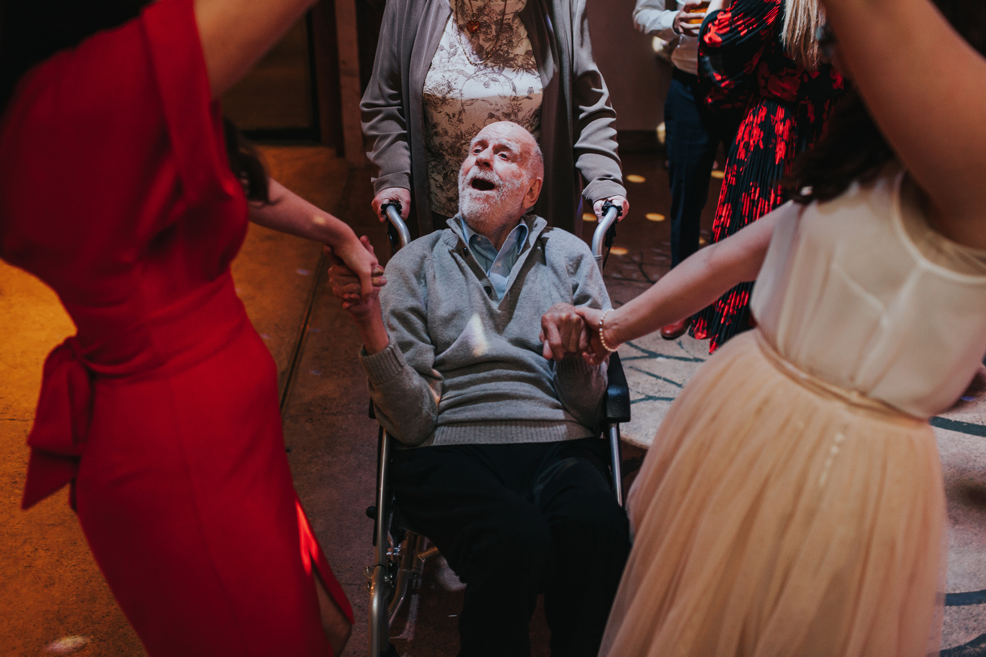 Grandad having a great time on the dance floor.