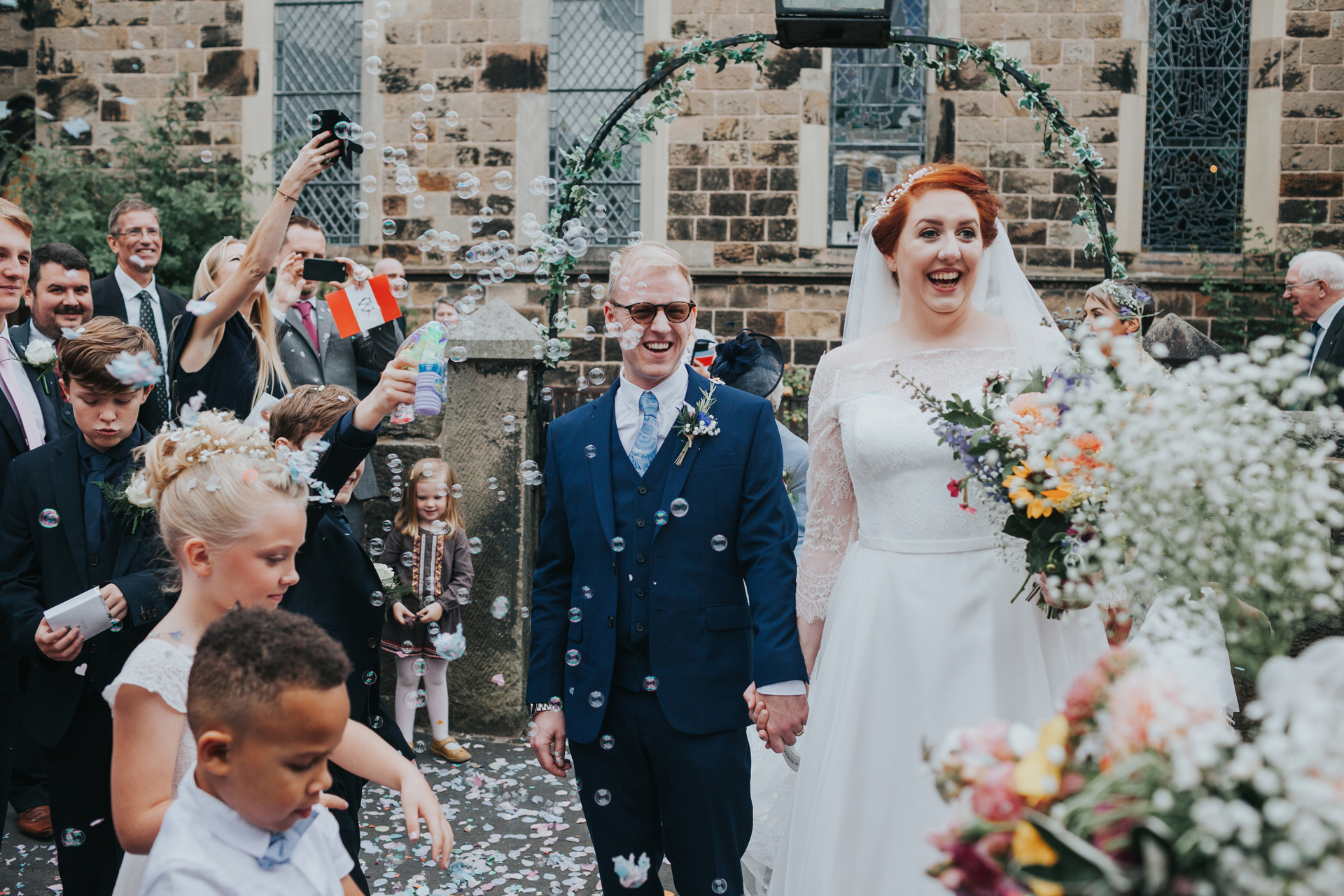 Confetti with the bride and groom, Liverpool.