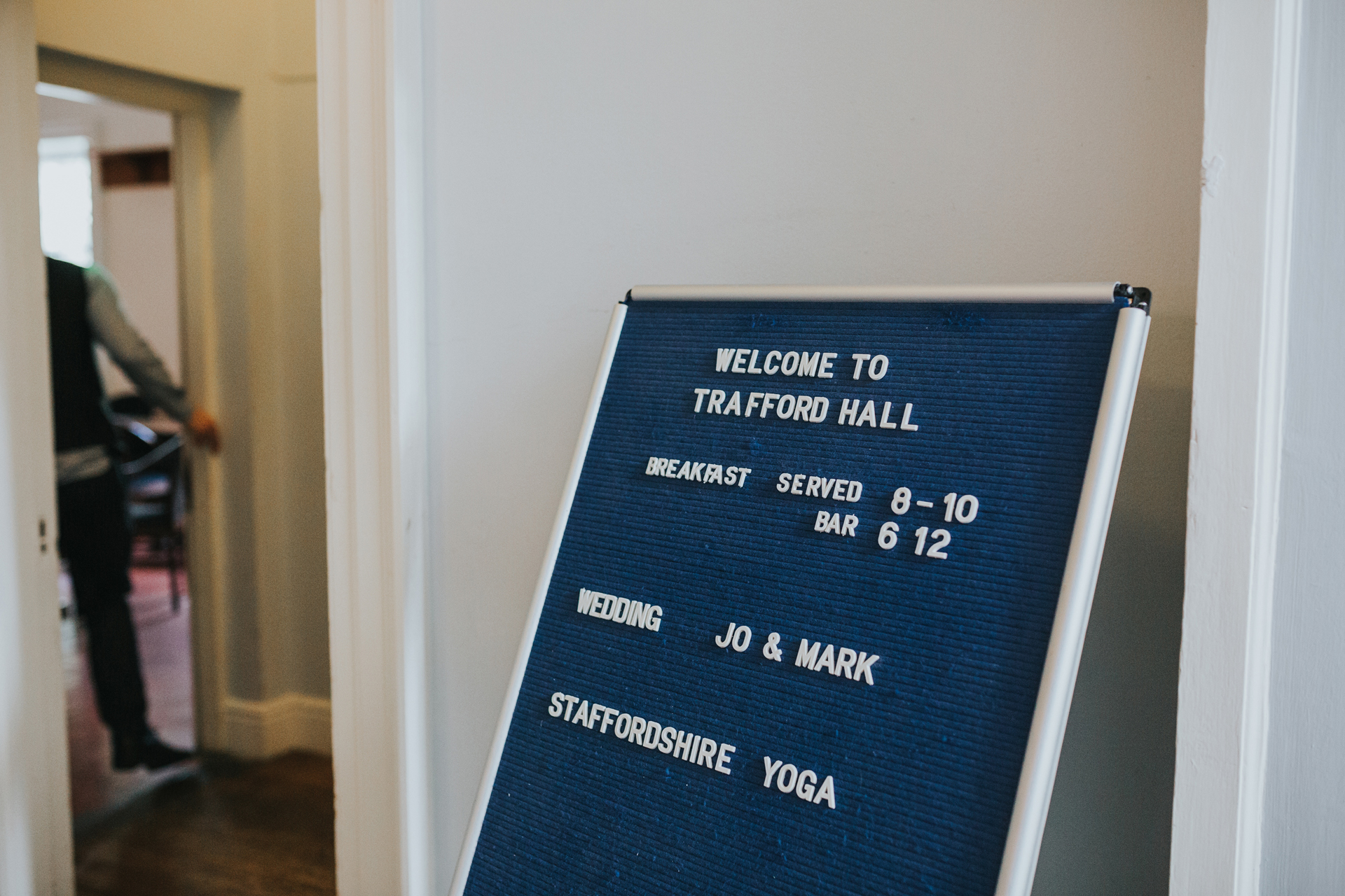 Welcome to Trafford Hall sign.