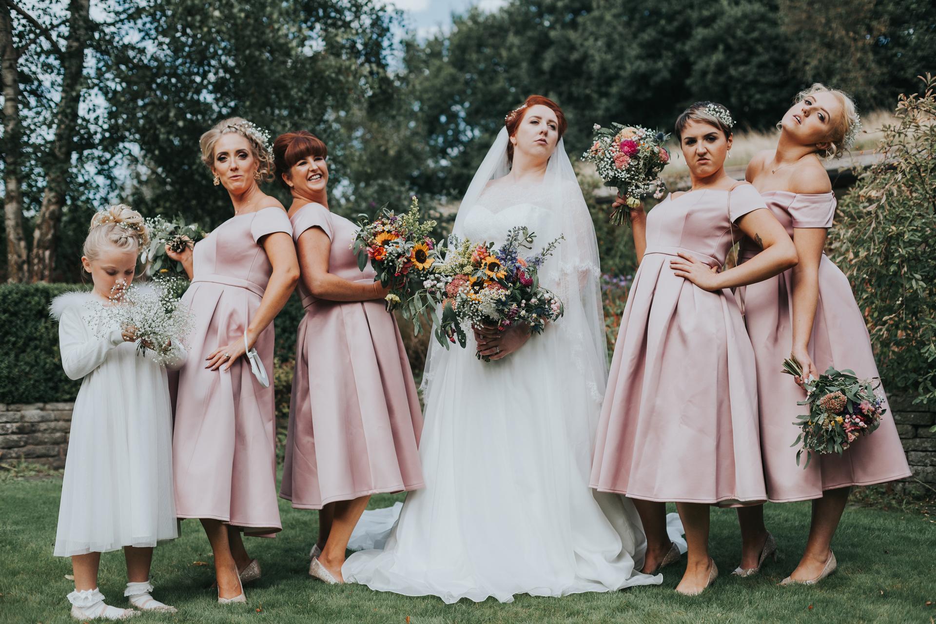 Bridesmaids posing at Trafford Hall.