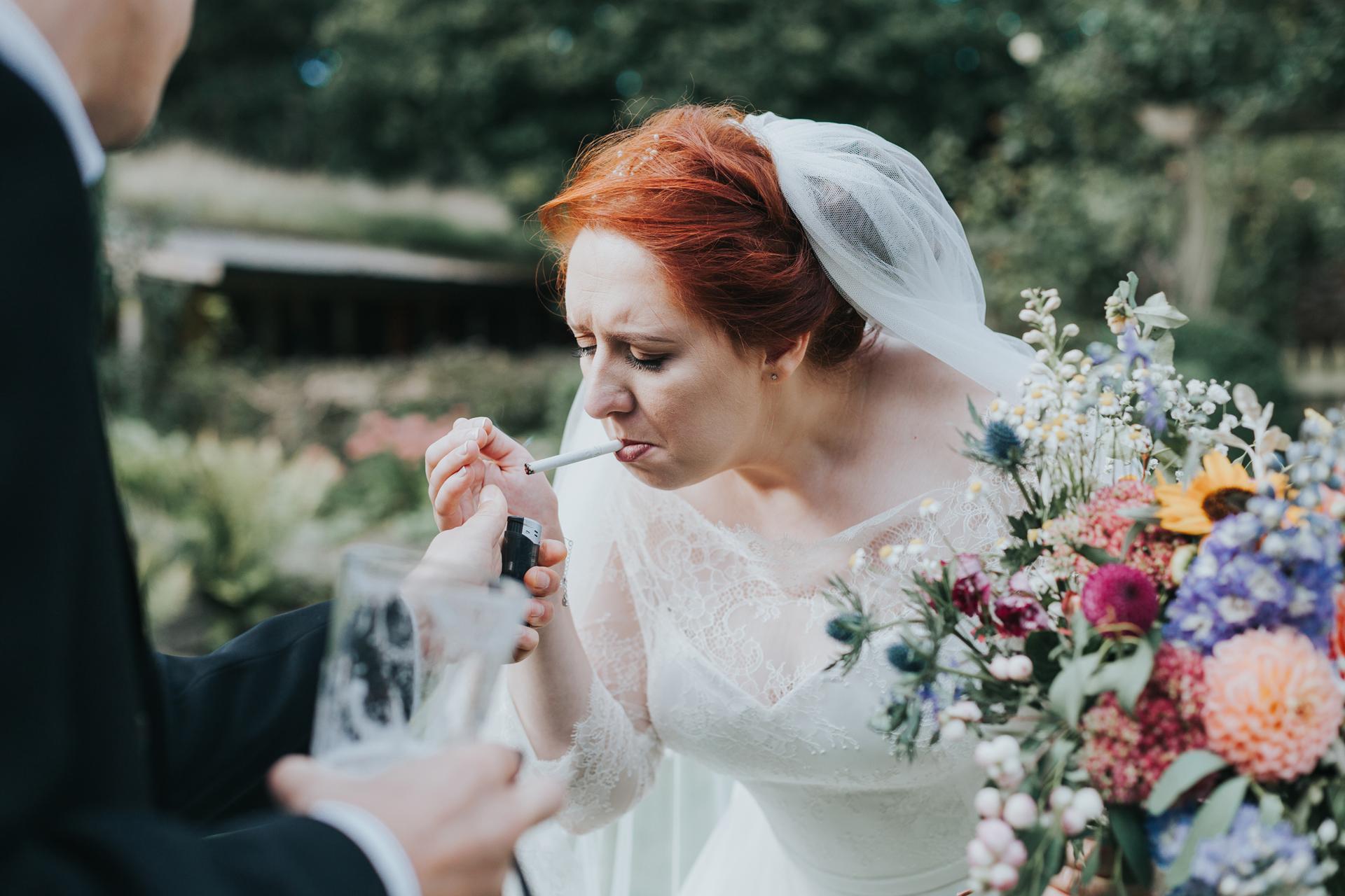 Bride having a fag.