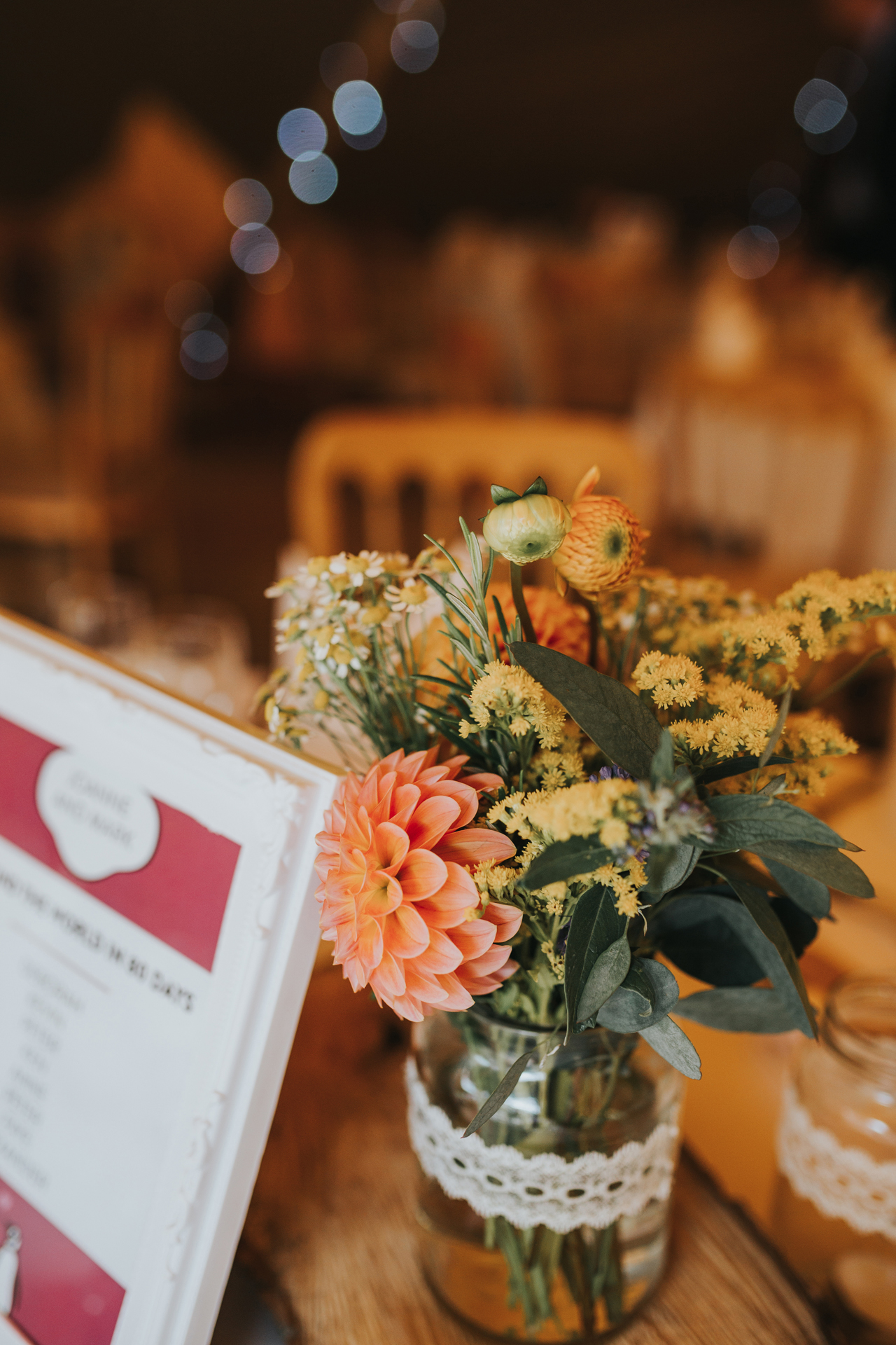 Flowers on wedding tables.