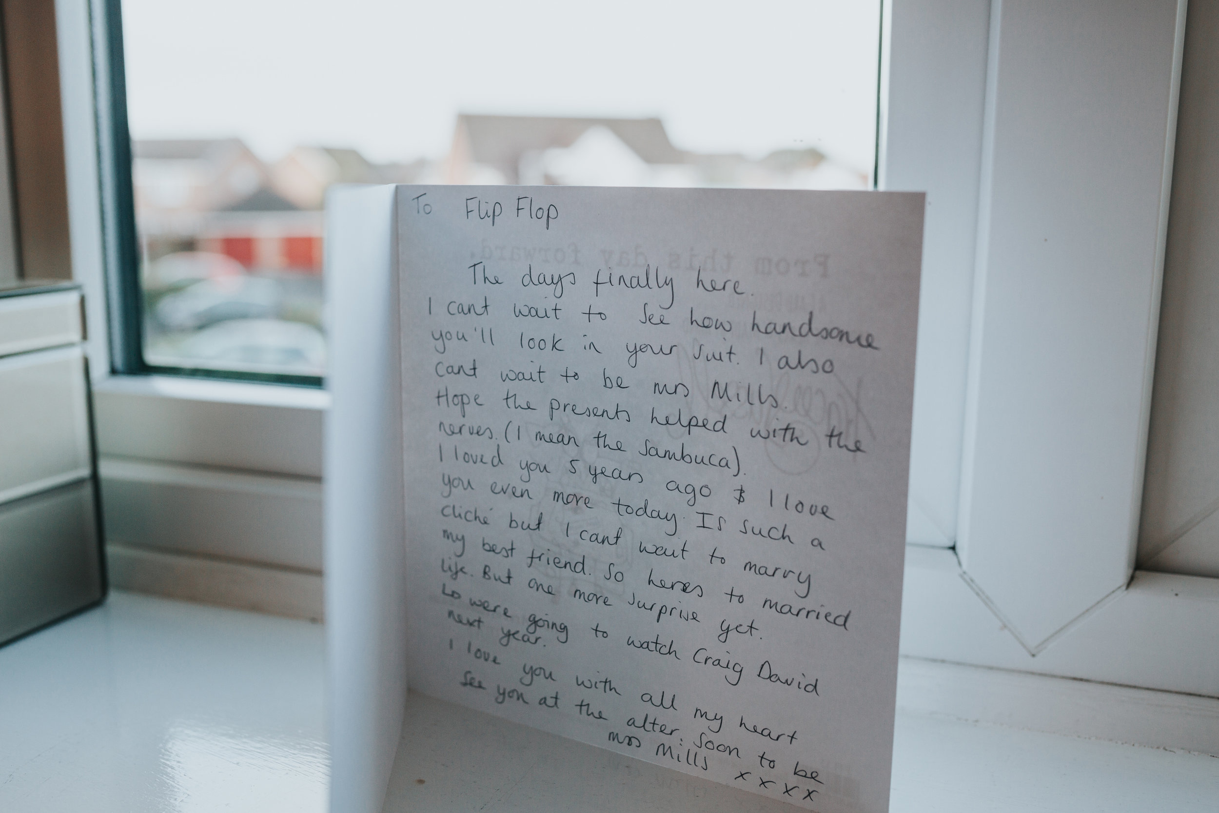 A card from the bride to the groom.