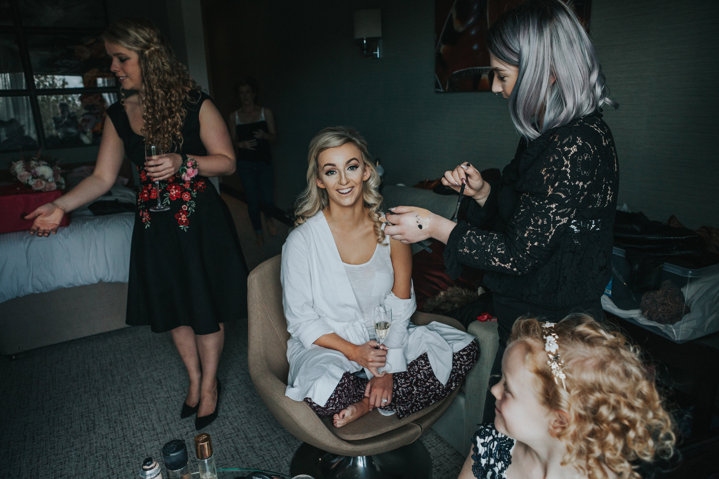 Bride getting her make up done at Stanley House Hotel and Spa.