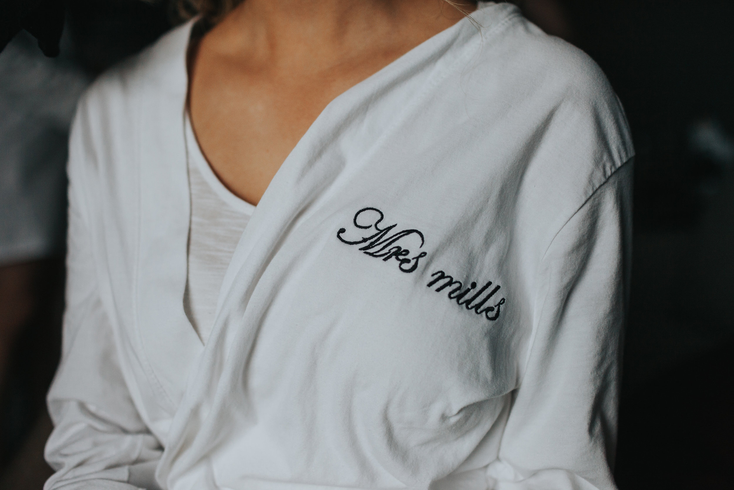 Mrs Mills motif on brides dressing gown.