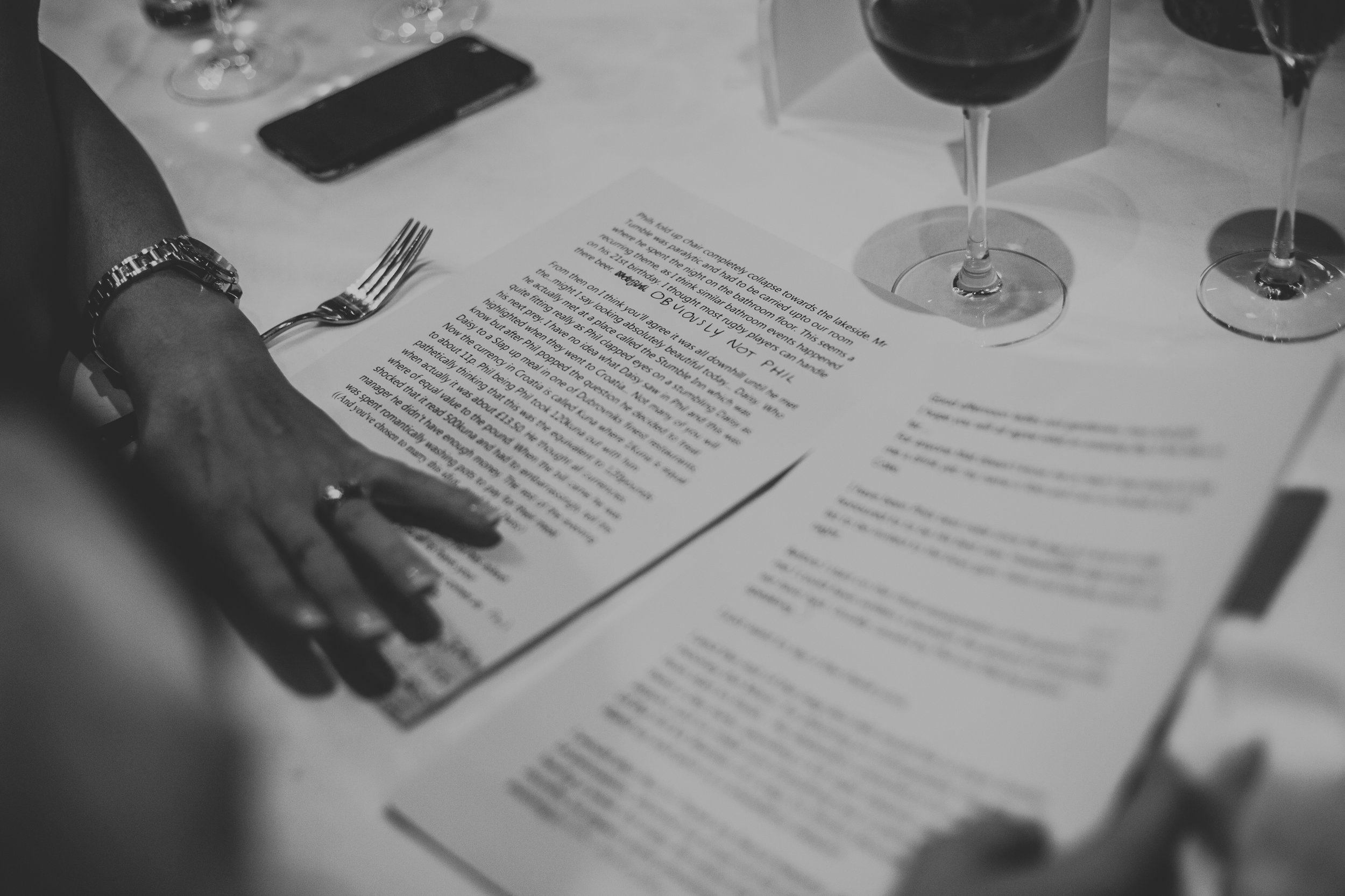 Speeches typed up on the head table.