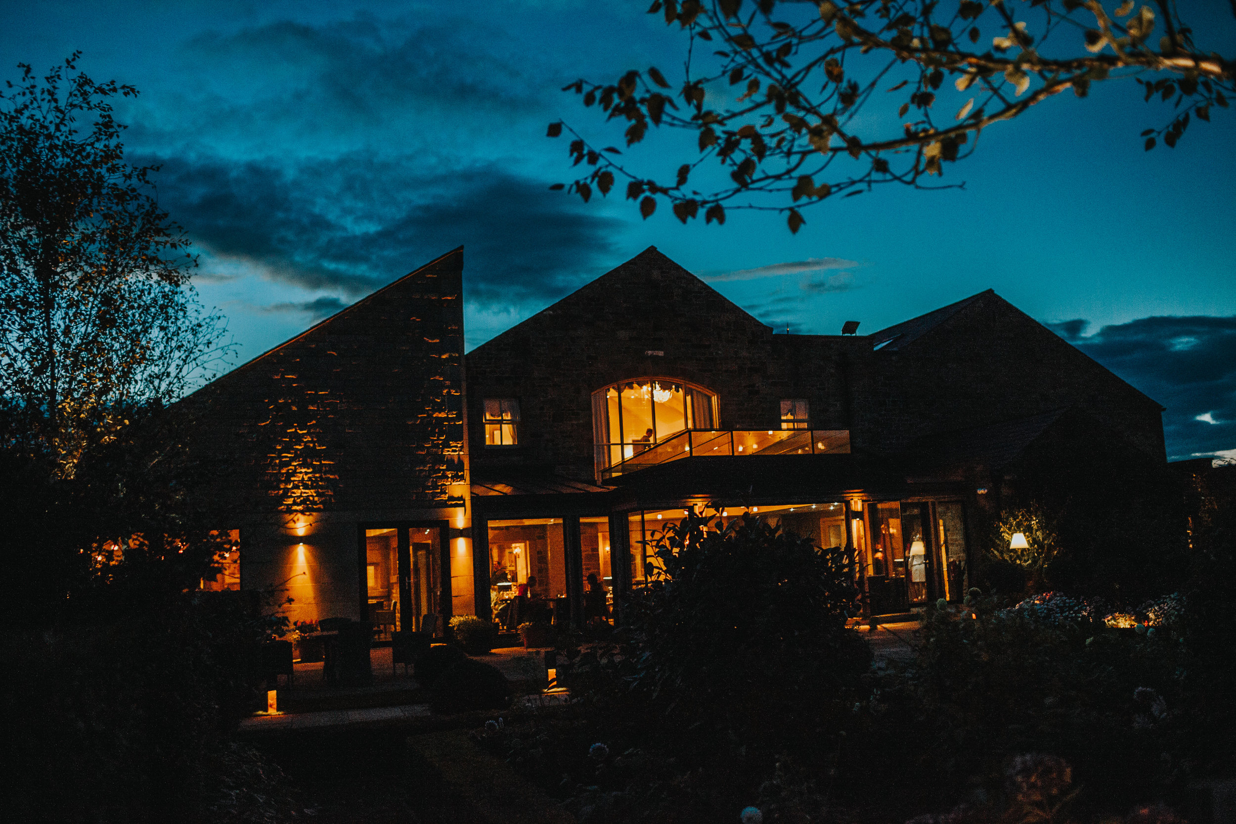Stanley House Hotel and Spa and night falls.