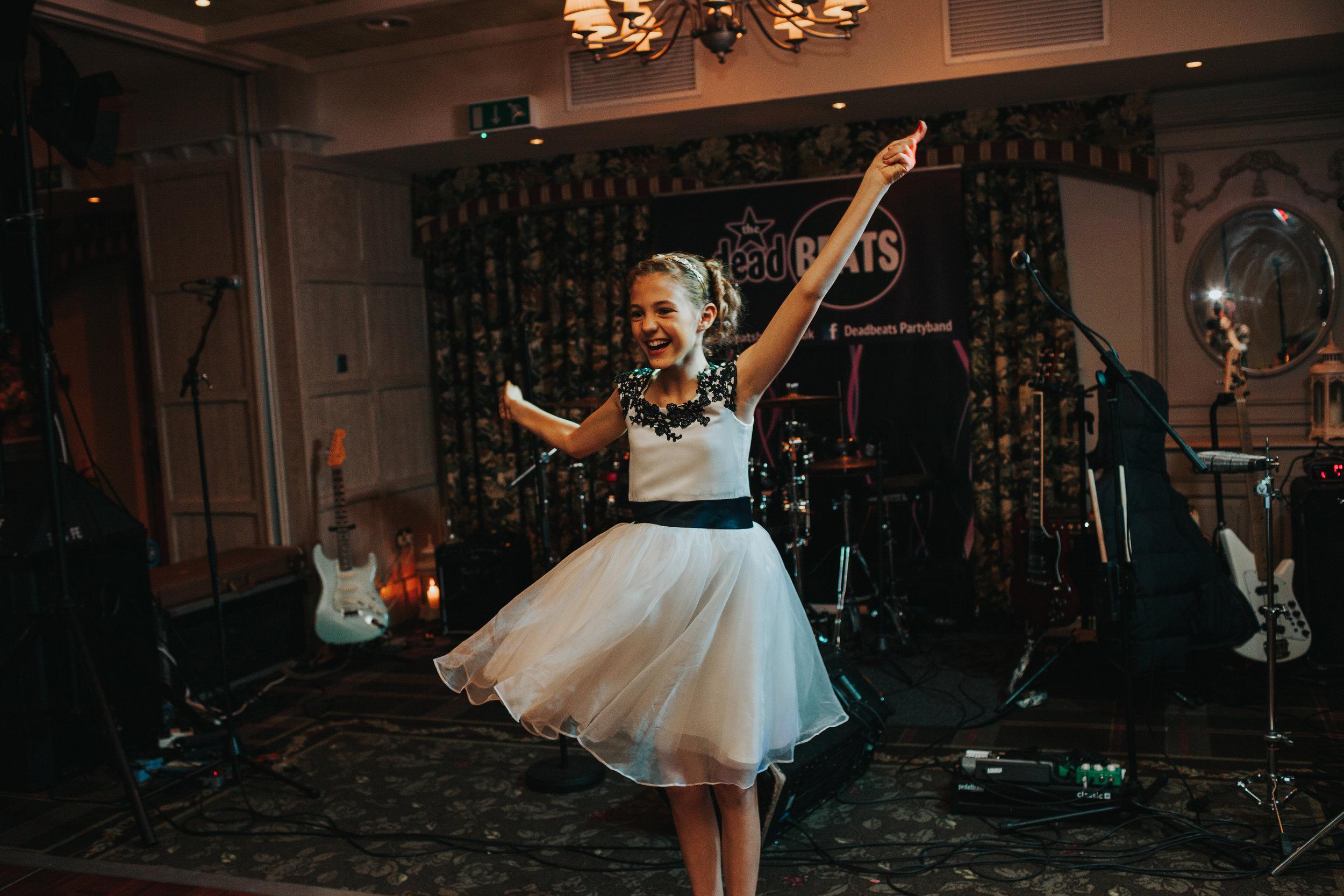 Flower girl dancing.
