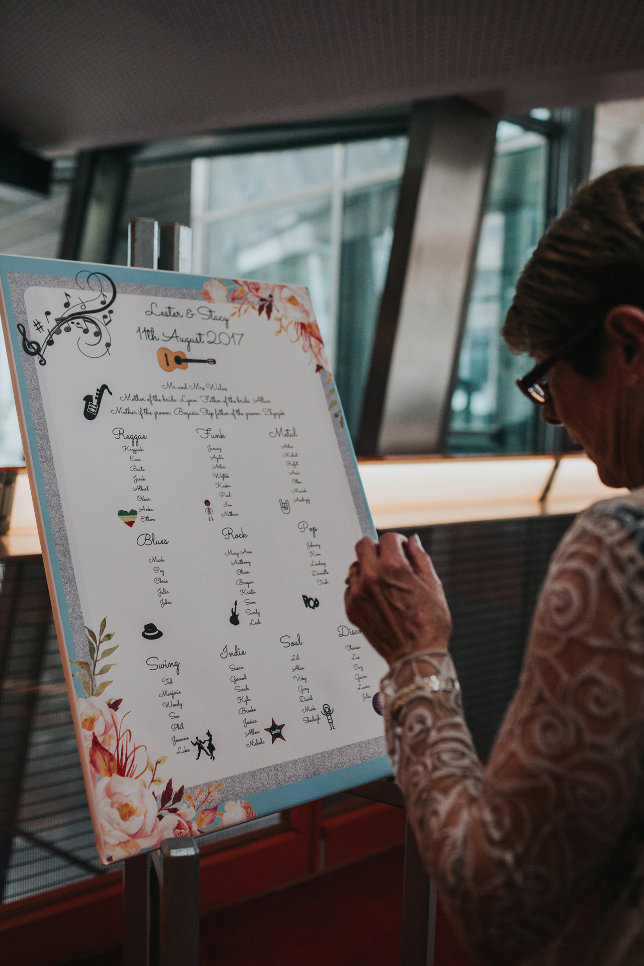 Wedding guest looks at the table plan.