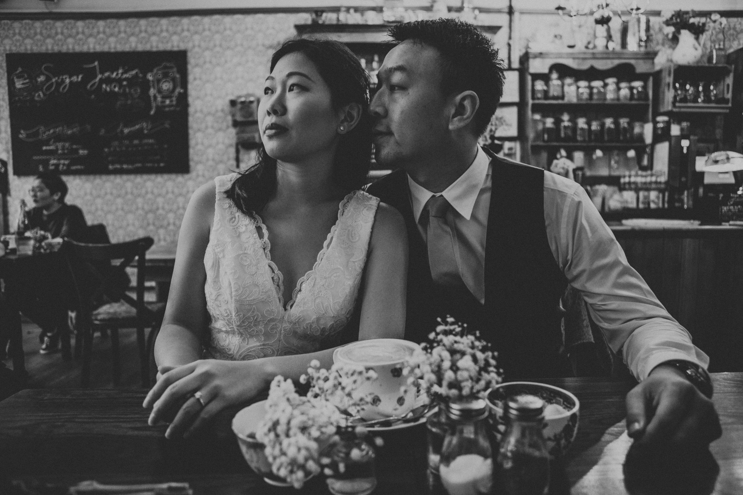 Black and White photo of couple in Sugar Junction.