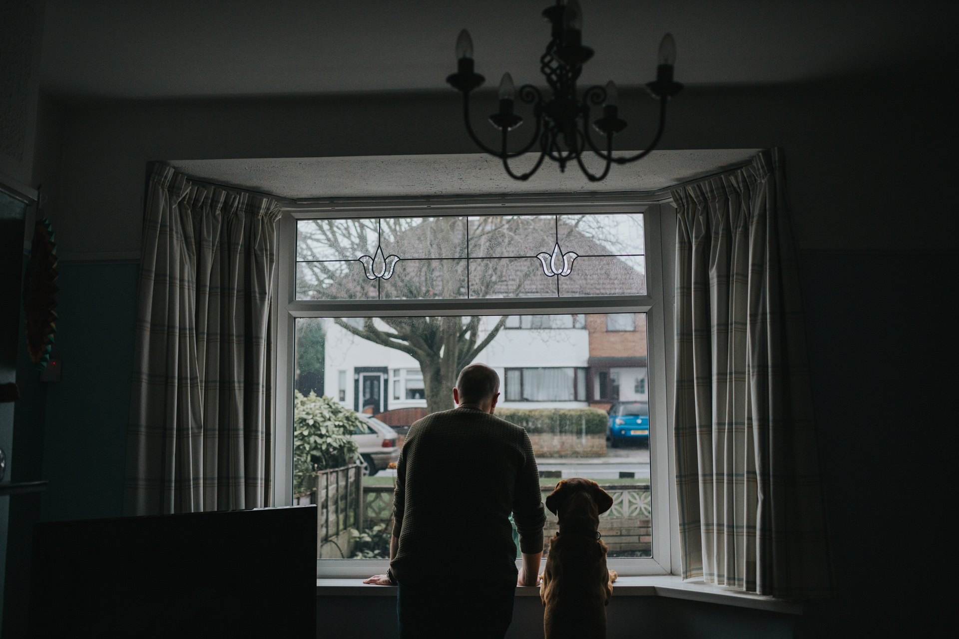 Dad and the family dog look out of the living room window together.