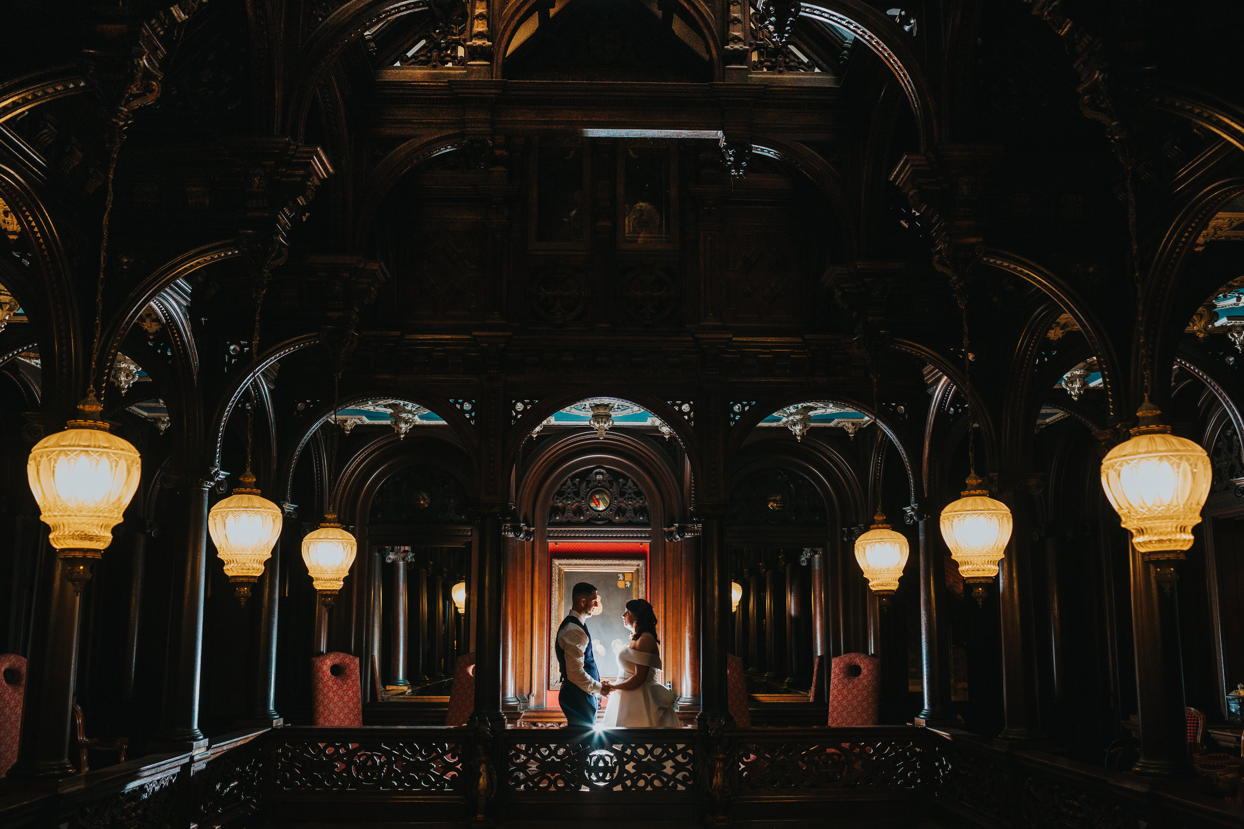 Couple inside Crewe Hall on their Wedding Day