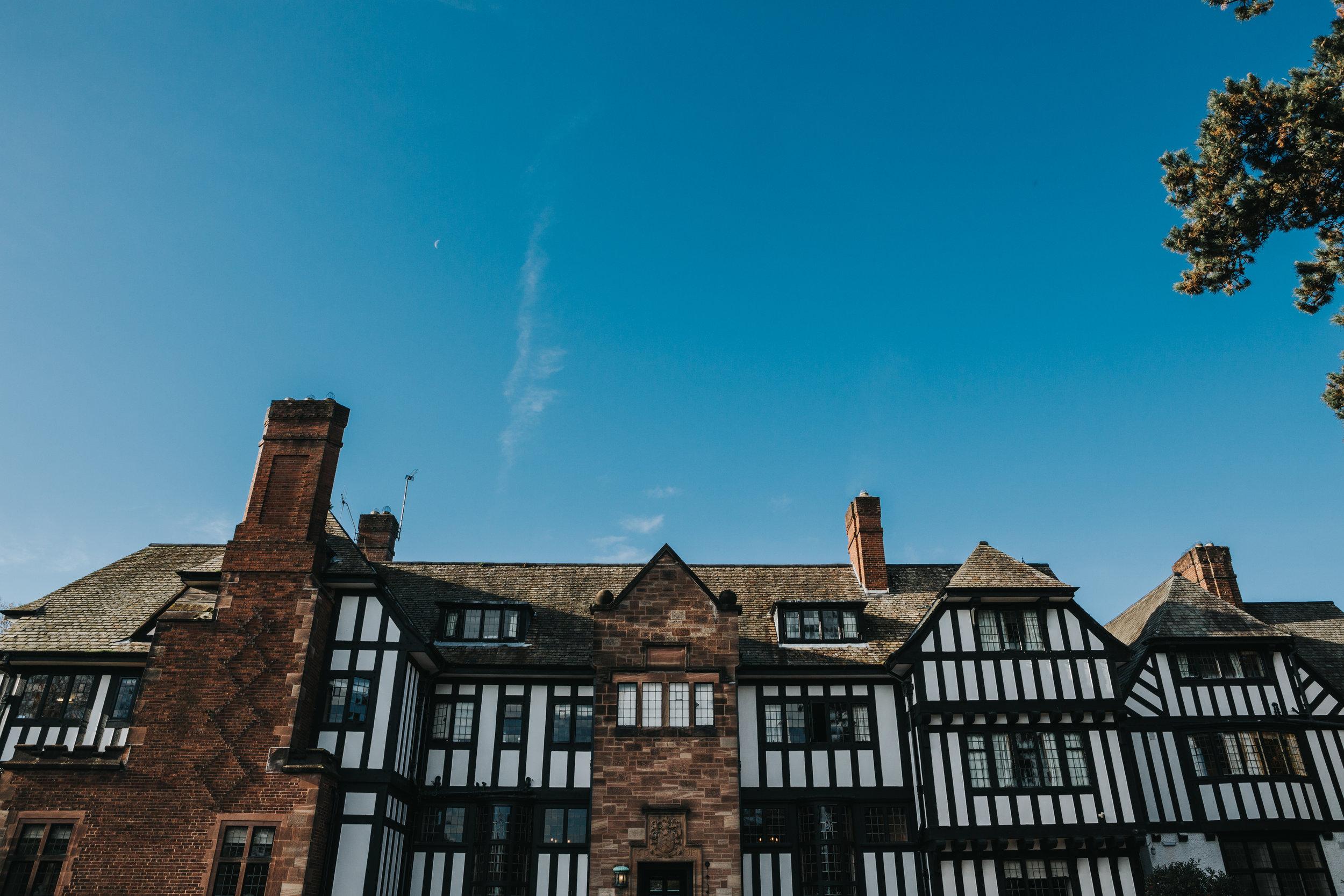 Inglewood Manor's Tudor style exterior.