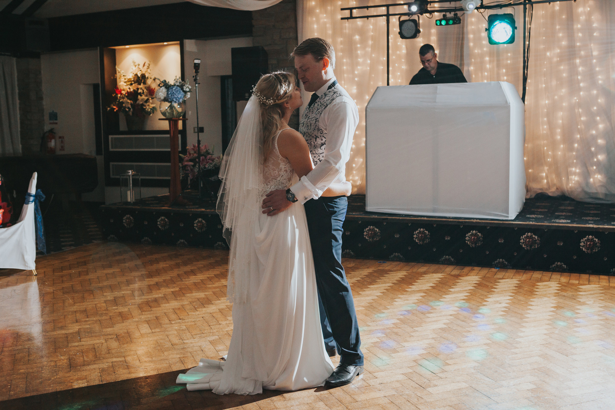 Bride and Groom alone on dance floor together at Mytton Fold Hotel.