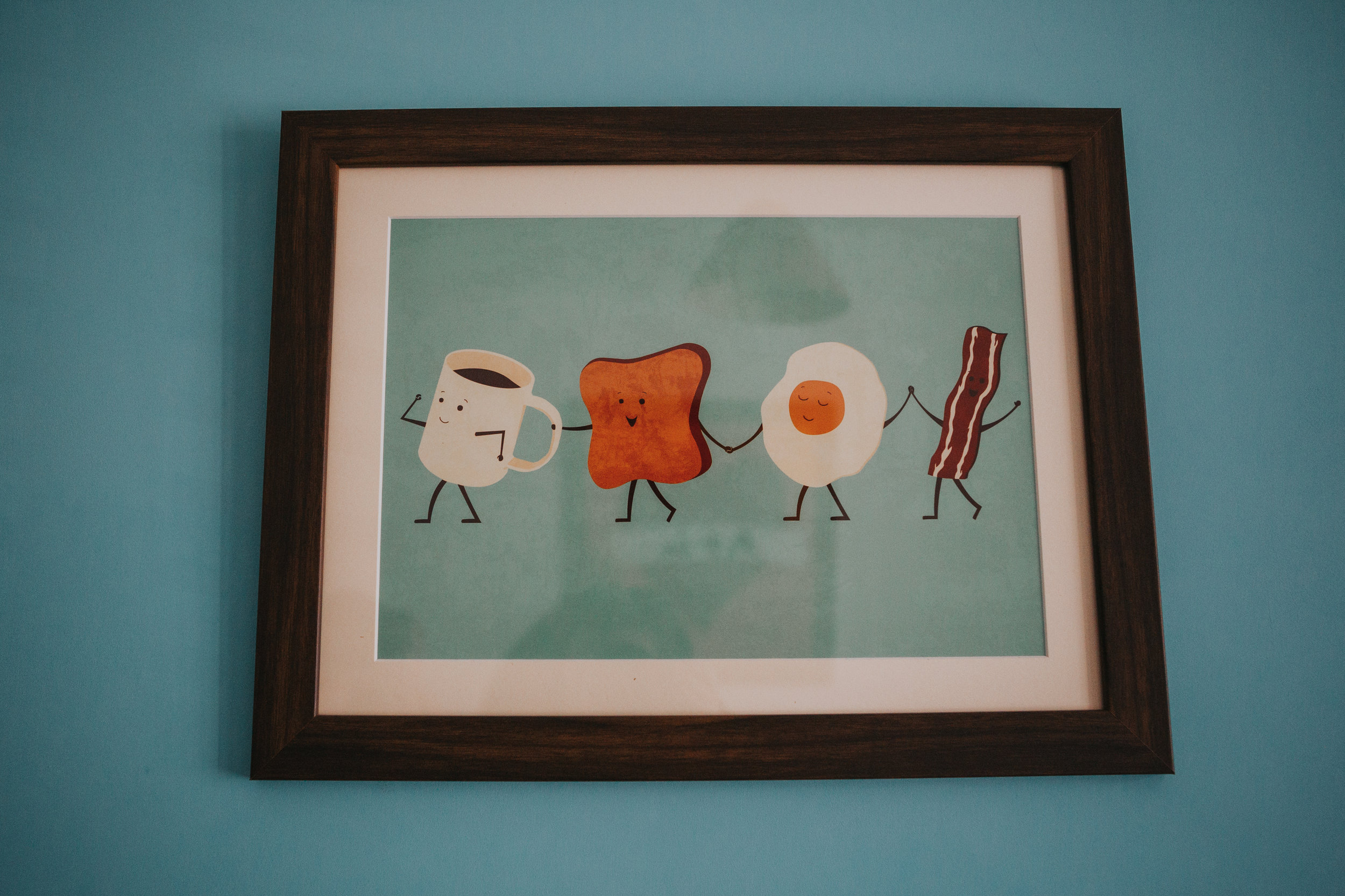 Breakfast holding hands art.