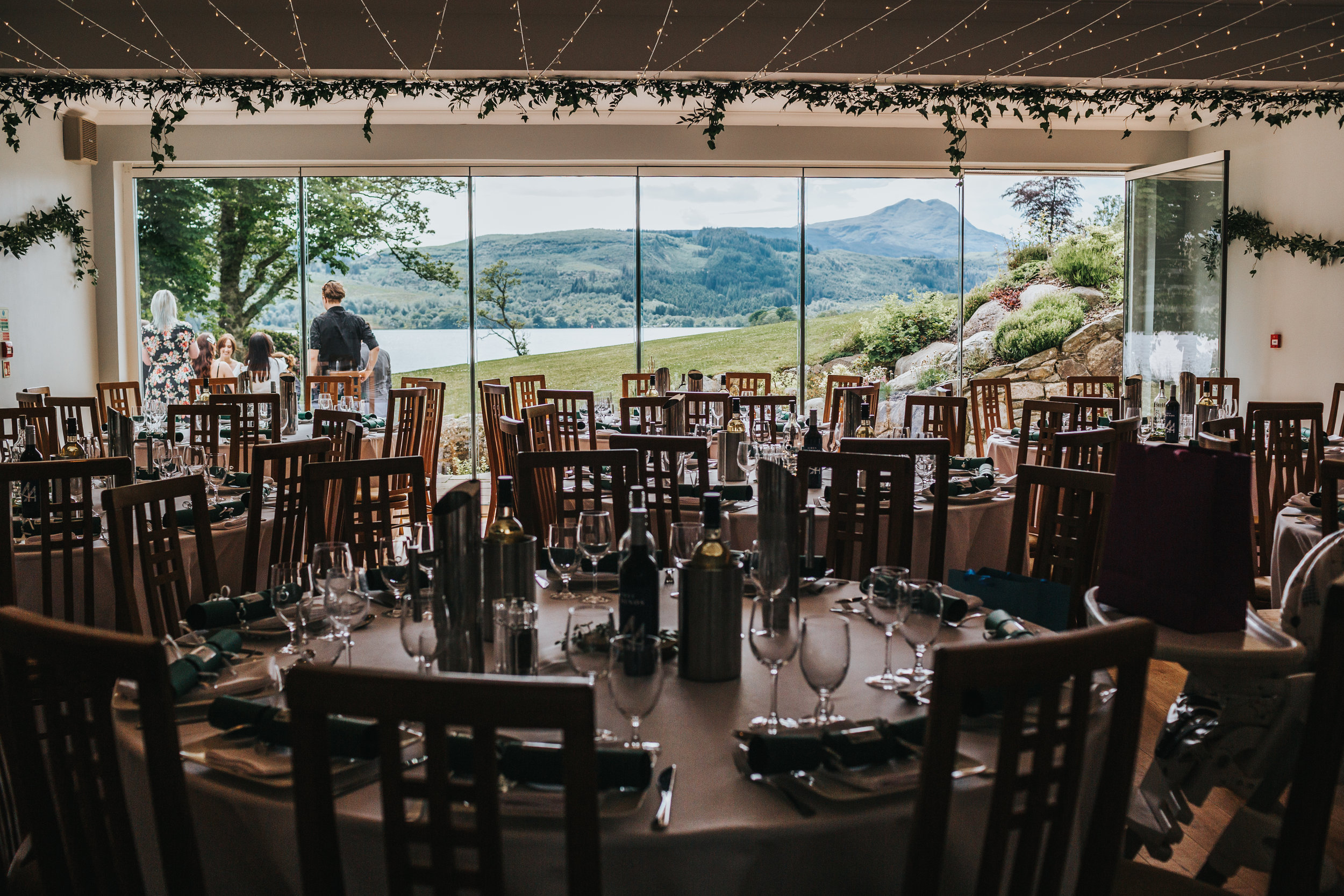 The dining room over looking Loch Ard and Ben Lomond at Altskeith Country House