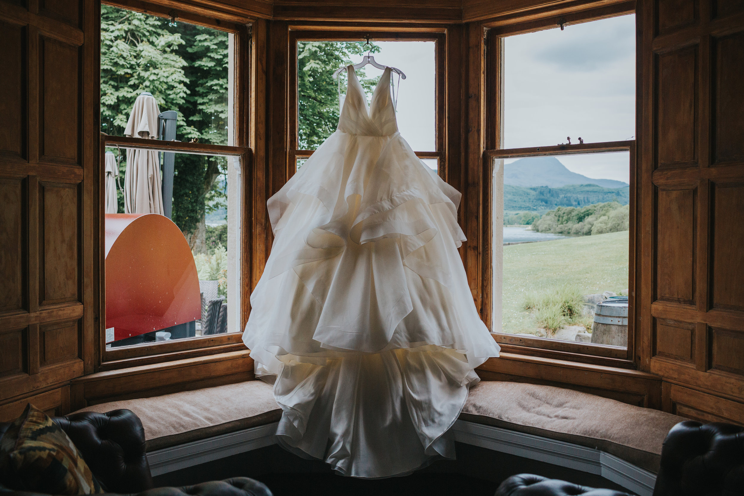 Dress hanging in window at Altskeith Country House
