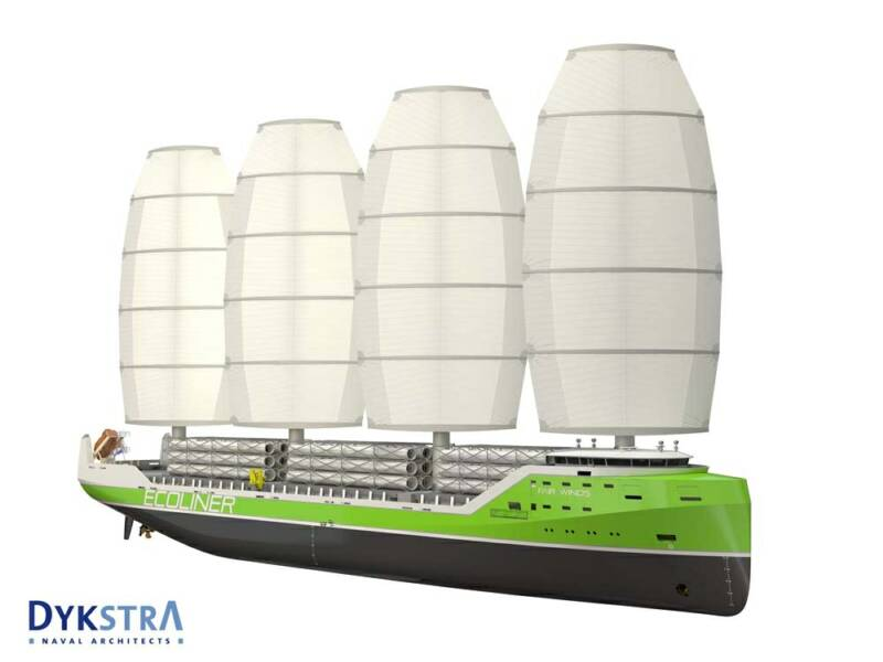 """The WASP is a durable alternative for present day cargo ships. Sail propulsion is used to reduce fuel consumption and thereby cost and emissions.""  See http://www.dykstra-na.nl/designs/wasp-ecoliner"