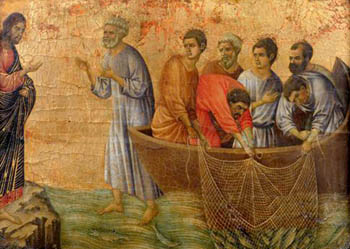 The Miraculous catch of 153 fish by Duccio, 14th century 153? In that boat? Really?