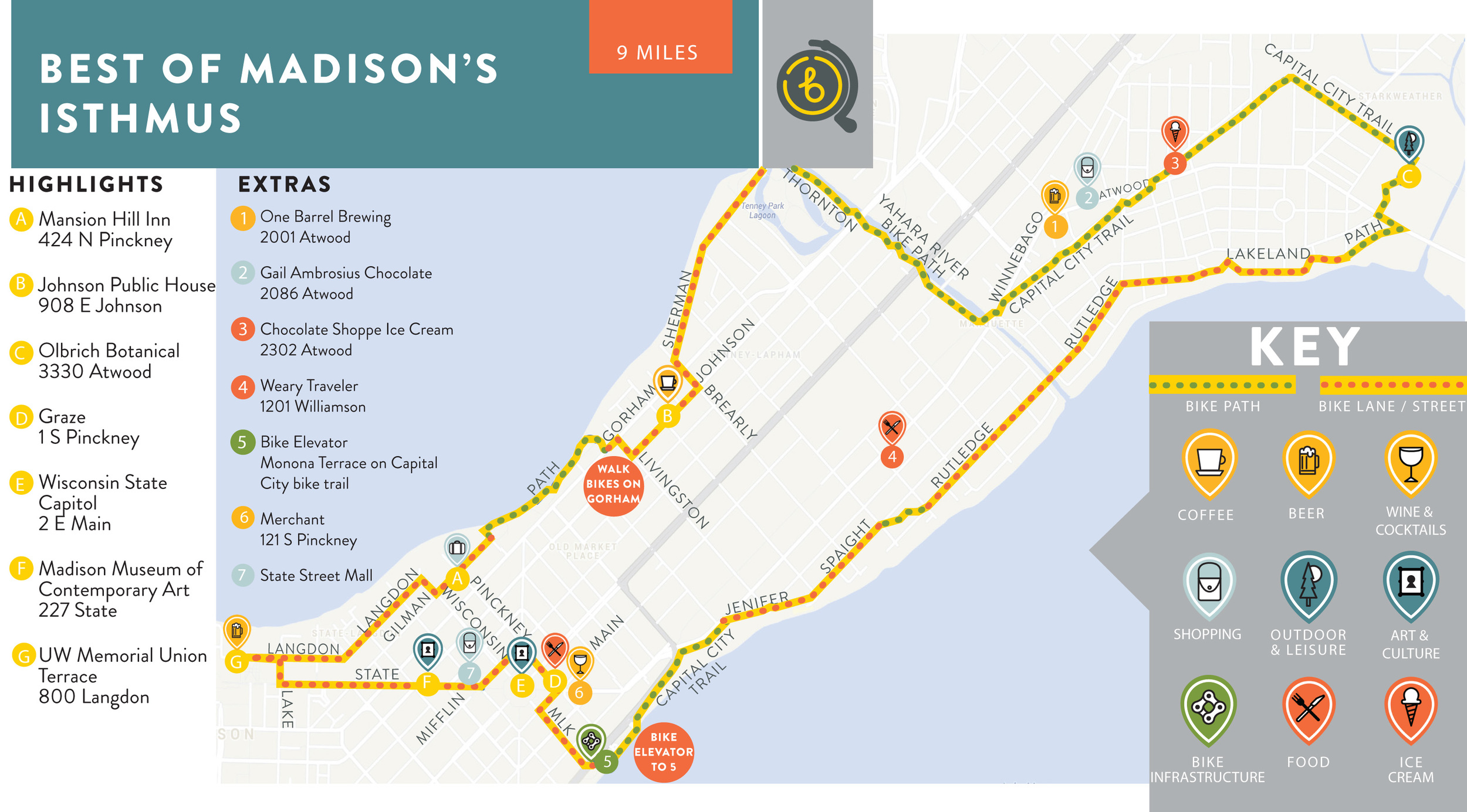 Curated map for Bikabout member, Mansion Hill Inn. Now their concierge has an easy map to give people who use their bikes!