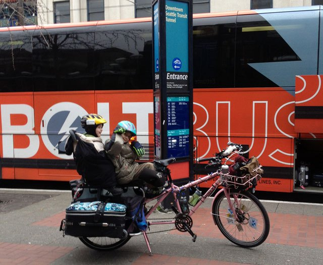 Bolt Bus is also bike friendly allowing bikes in luggage storage when space allows. Picture from f