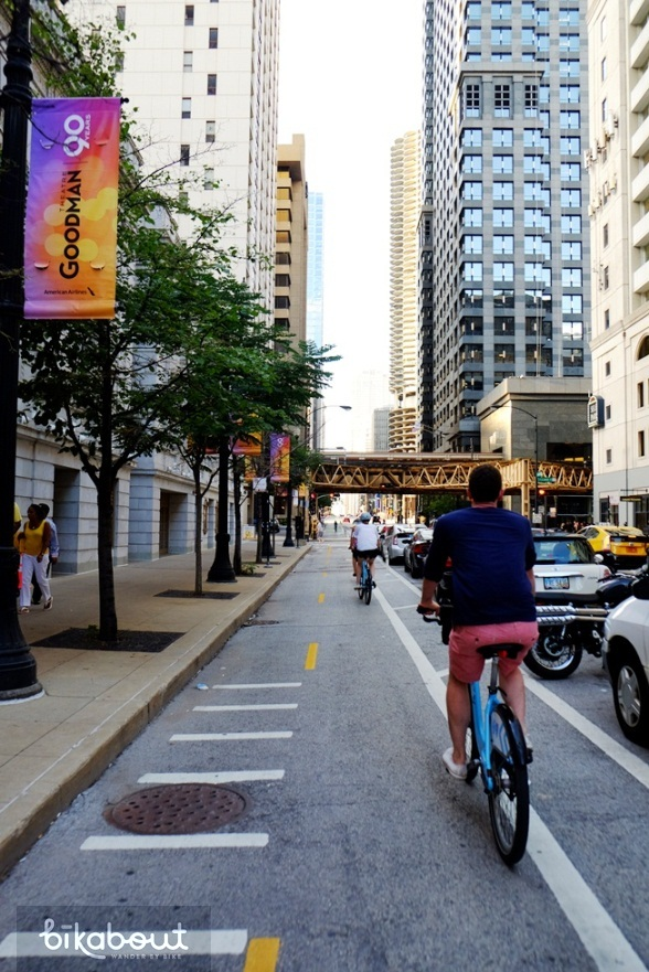 Dearborn cycle track in Chicago provides a calm city biking experience.
