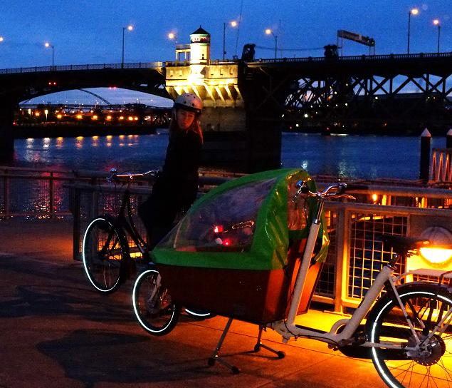 Our experience in Portland with our 3 year old would have been much different had we not had the Workcycle Oma and Bakfiets from Clever Cycles to explore the city by.Night time riding is key to walking away with a beautiful memories.