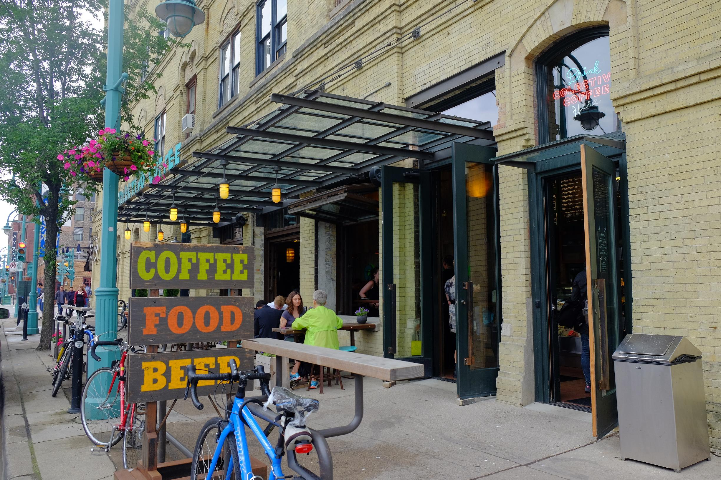 Colectivo Coffee has multiple locations across Milwaukee and all of them are very bike friendly.