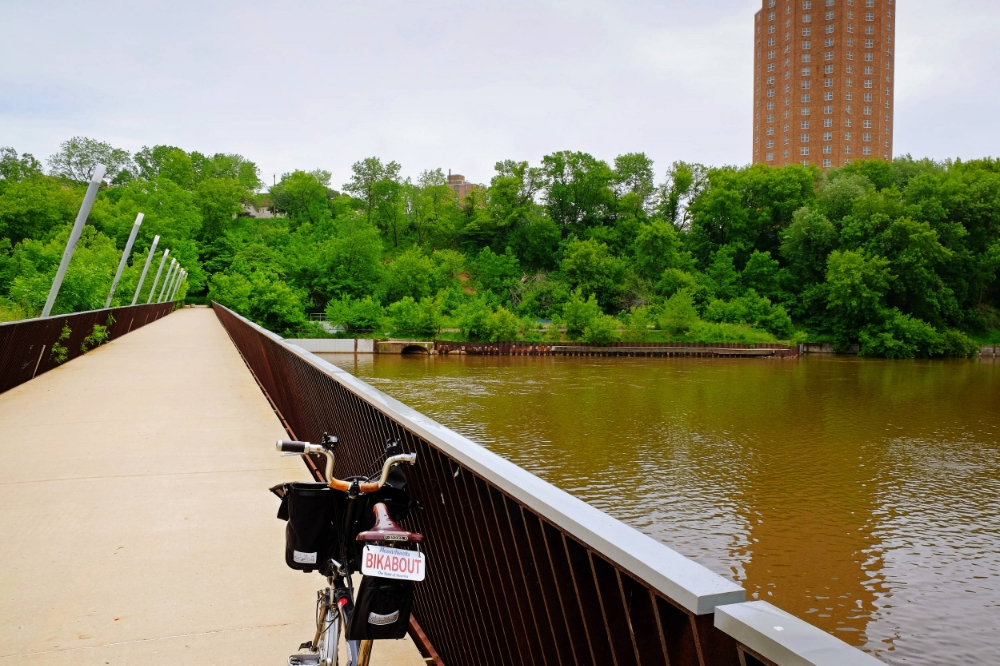 We wanted to see more neat biking infrastructure like this bridge over the Milwaukee River.