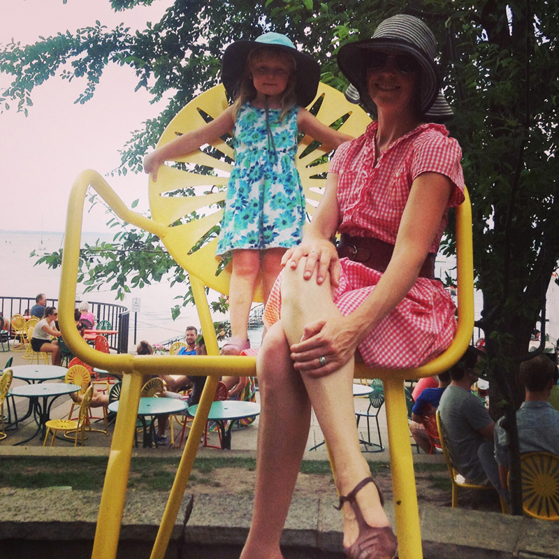 Bikabout founder, Megan Ramey, and her daughter on one of the oversized, iconic Union chairs.