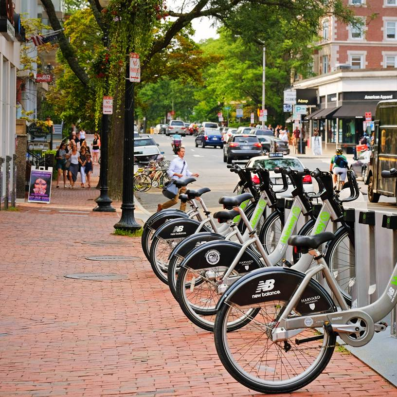 Hubway bike share in Harvard Square, Cambridge MA