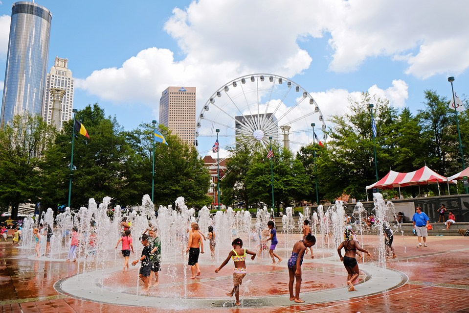 Cooling off downtown at Centennial Olympic Park, an amazingly activated public space.