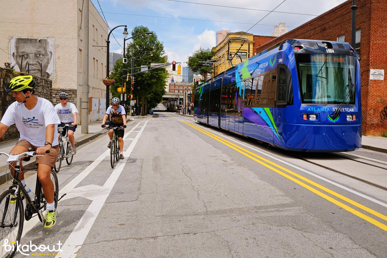 Atlanta Streetcar runs along Auburn, which has a new buffered bike lane!