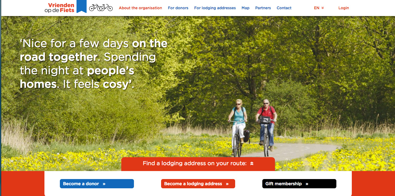 "Vrienden op de Fiets, ""Friends of the Bicyclists"", was around way before Airnbnb, founded in 1984. Make sure to check out the website if you're planning a trip to Europe!"