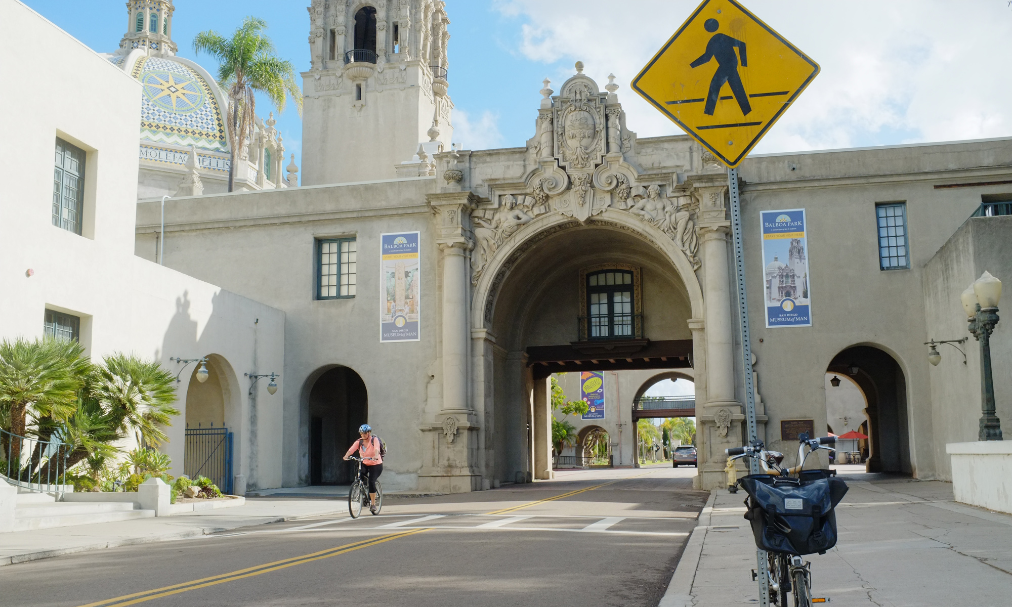 Balboa Park's grand entrance to museums like the Museum of Man and Museum of Art.