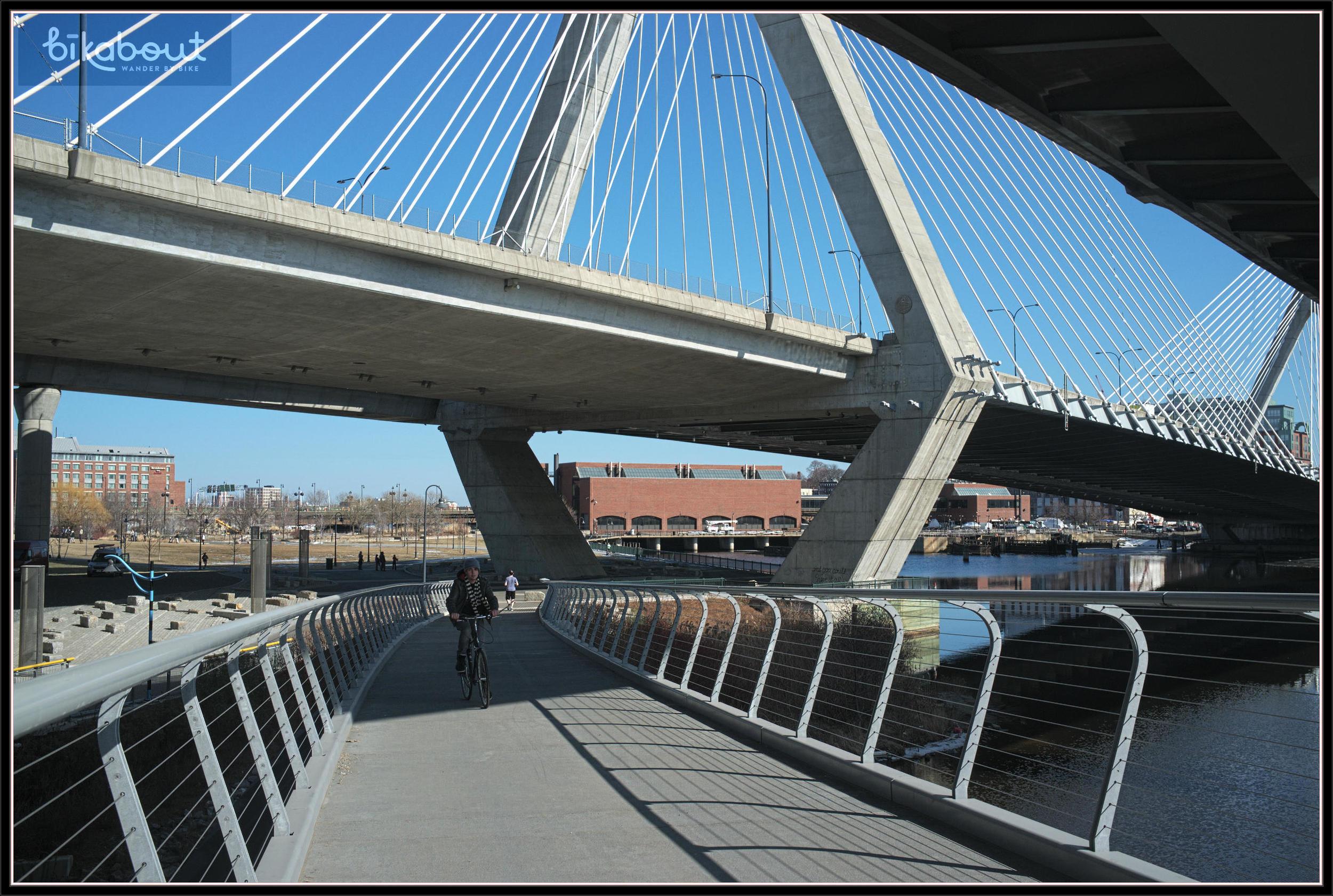 North Bank Bike Bridge under Zakim Bridge