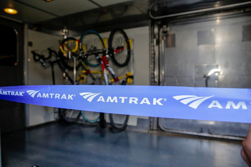 "Typical roll-on service that Amtrak refer's to as ""walk-up checked bike service"". This sometimes requiring you to lift the bike from the floor to the baggage car door, which is fine for carbon fiber folks, but not for city bikes."