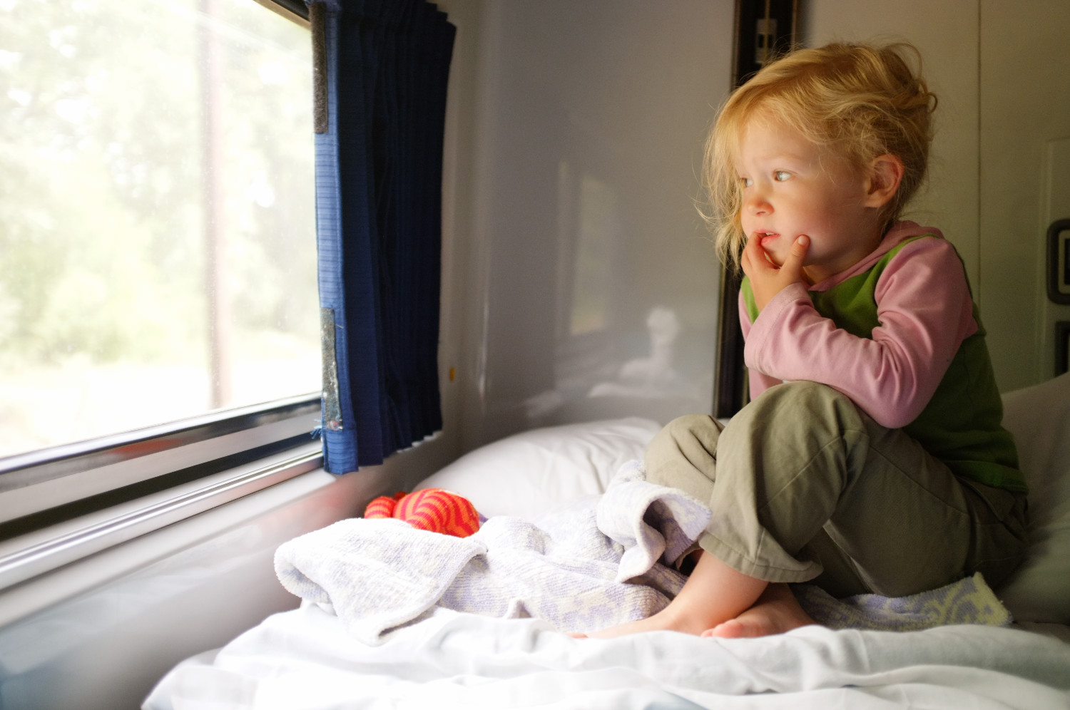 Kids have so much to look at and think about when staring out the window from the top bunk of a roomette.