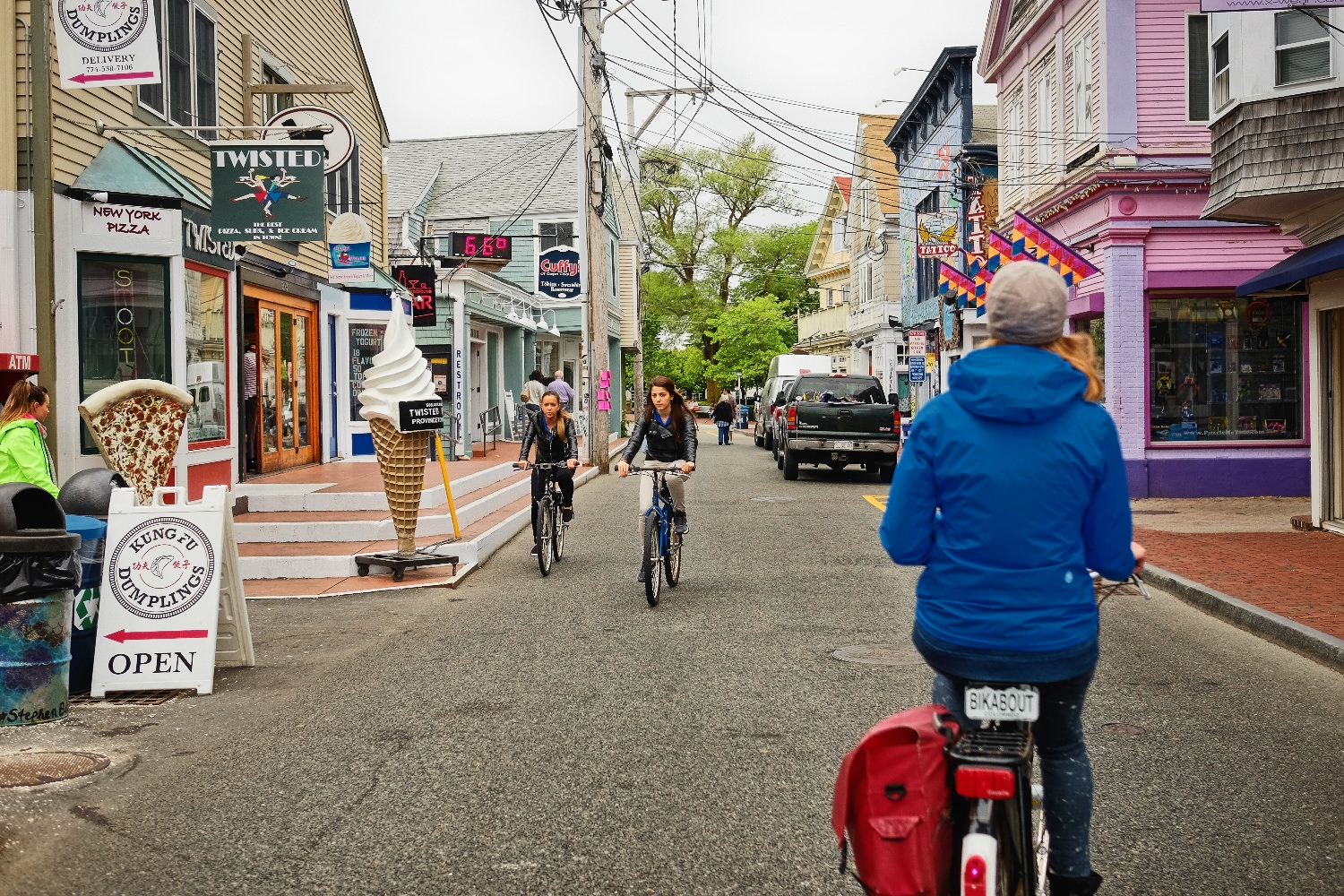 Riding through Provincetown, which has tons of biking locals and tourists, but we wish it was a pedestrian mall closed to cars.