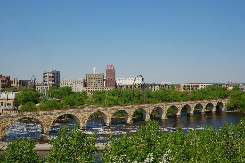 "Stone Arch Bridge seen from Guthrie Theater's ""Endless Bridge"""