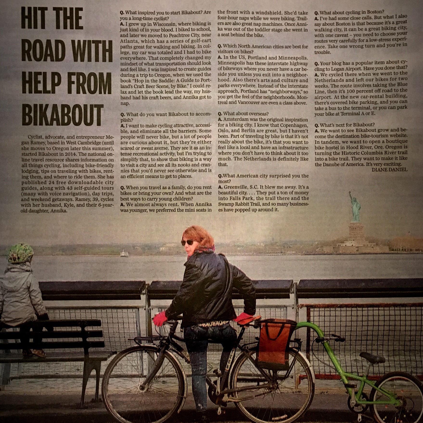 """From Boston to Amsterdam, family-friendly city biking can be fun, safe"" in the Sunday travel section of the  Boston Globe , August 2016."