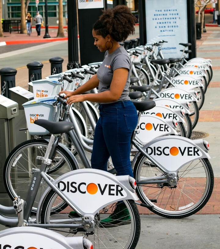 DecoBike is San Diego's bike share with over 800 bikes scattered throughout the metro! Use the bikes outfitted with a basket, lights, full chain guard and fenders for a quick errand, to meet someone for lunch or to simply wander the city by bike.
