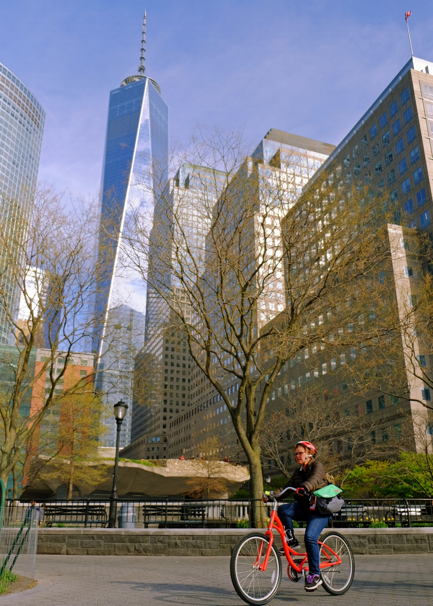 Biking by the Irish Famine Memorial and Freedom Tower. Photo by Kyle Ramey of Bikabout.com