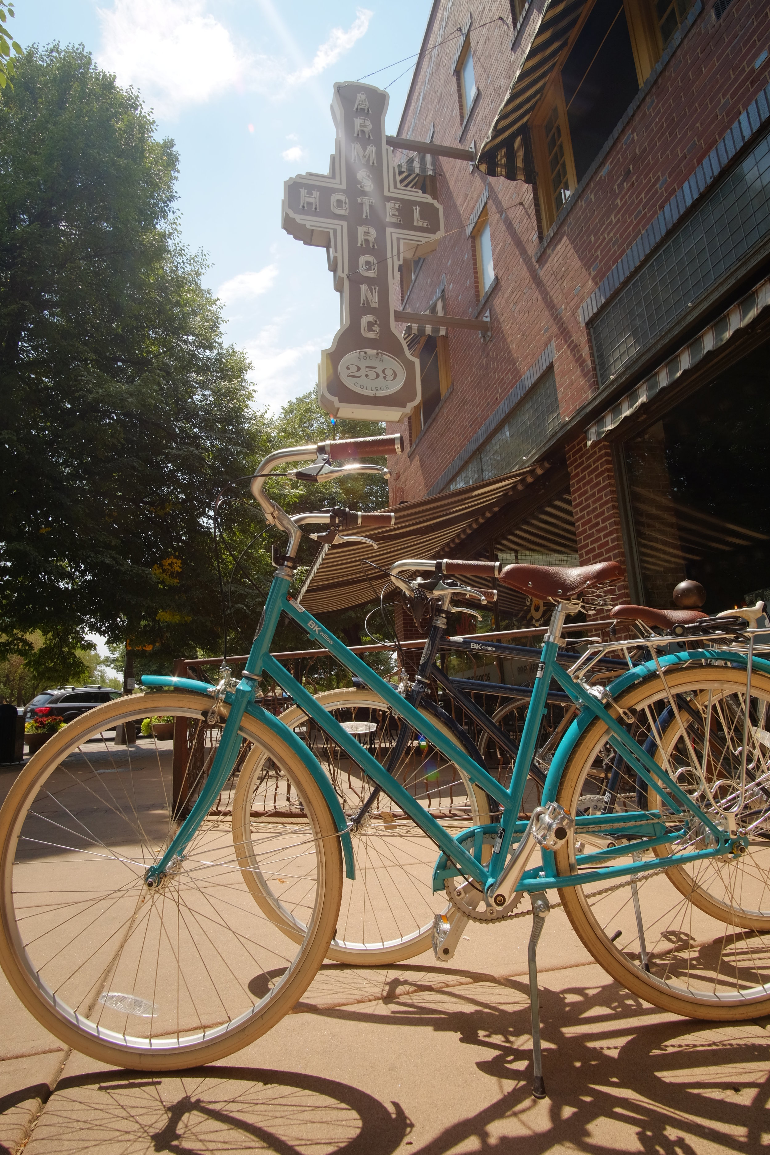 The Armstrong Hotel in Old Town Square is a bike friendly lodging option with these beautiful bikes!
